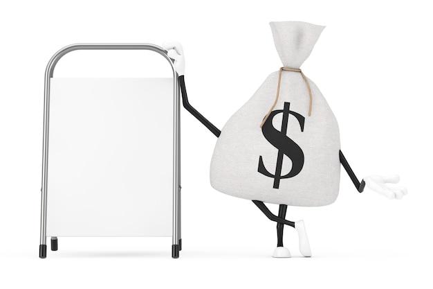 Sac d'argent en toile de lin rustique attaché ou sac d'argent et mascotte de personnage de signe dollar avec support de promotion de la publicité vierge blanche sur fond blanc. rendu 3d