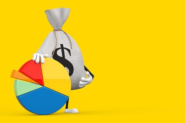 Sac d'argent en toile rustique attaché ou sac d'argent et mascotte de personnage de signe dollar avec graphique à secteurs d'informations sur un fond jaune. rendu 3d
