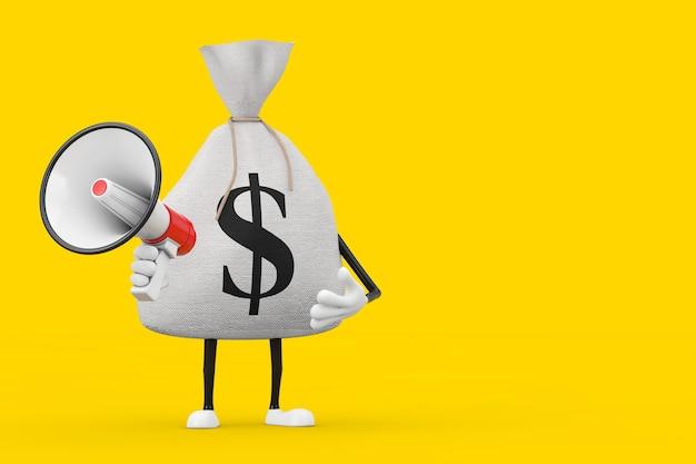 Sac d'argent en toile rustique attaché ou sac d'argent et mascotte de personnage de signe dollar avec mégaphone rétro rouge sur fond jaune. rendu 3d