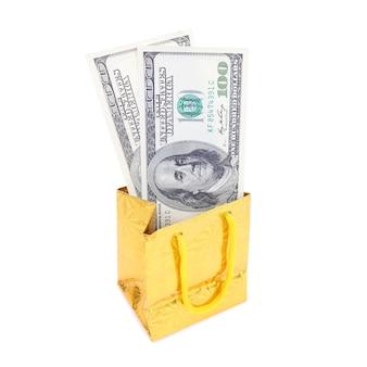 Sac cadeau avec les billets de 100 dollars, offre pour le vendredi noir