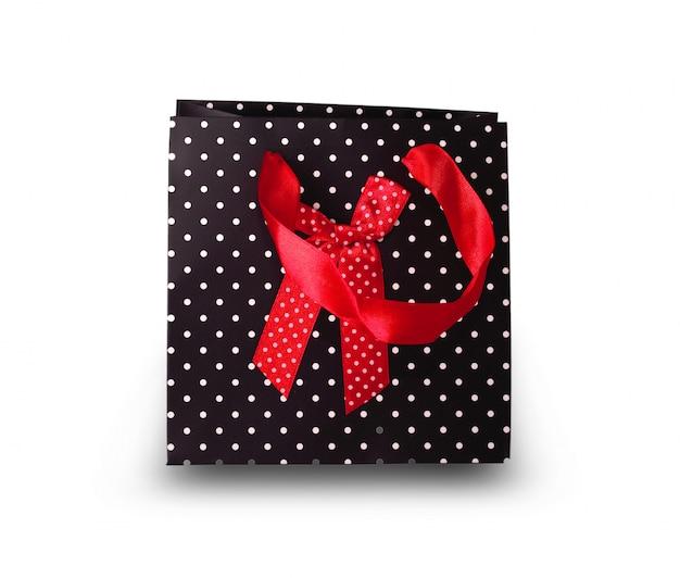 Sac Cadeau En Papier Noir Sur Fond Blanc Photo Premium