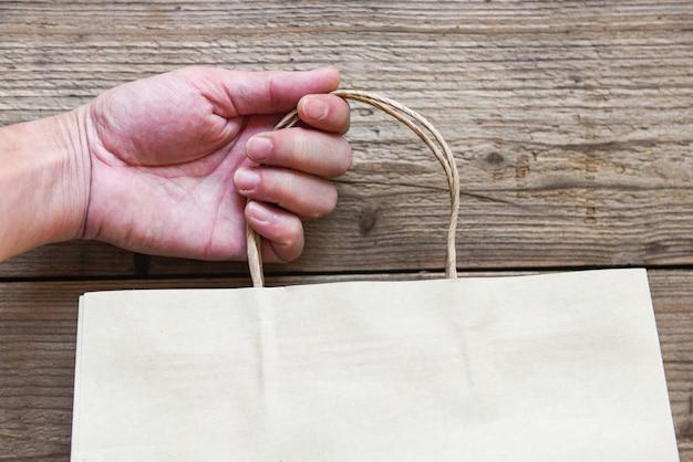 Sac d'emballage alimentaire en papier artisanal, sac à provisions en papier d'emballage écologique jetable