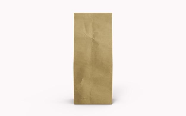 Sac d'emballage en papier brun thé ou café isolé sur fond blanc. rendu 3d.