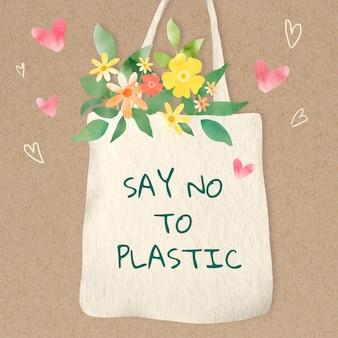 Sac fourre-tout mignon avec dire non à l'aquarelle de texte en plastique