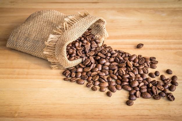 Sac de grains de café sur fond en bois