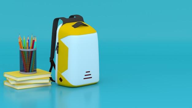 Sac jaune 3d, crayons, crayons de couleur et livres avec espace cyan