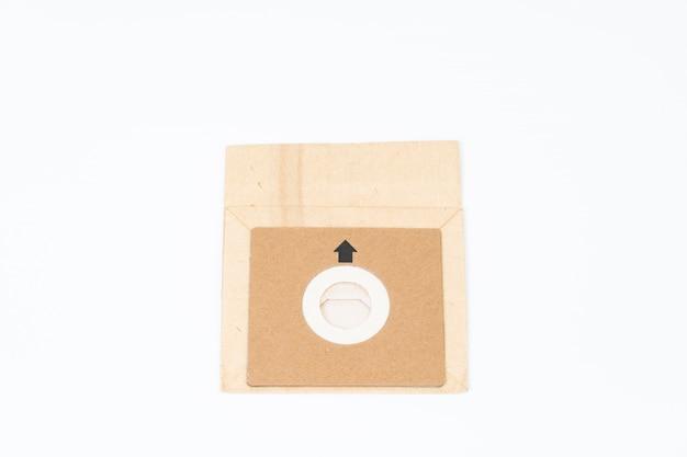 Sac en papier pour aspirateur sur espace blanc