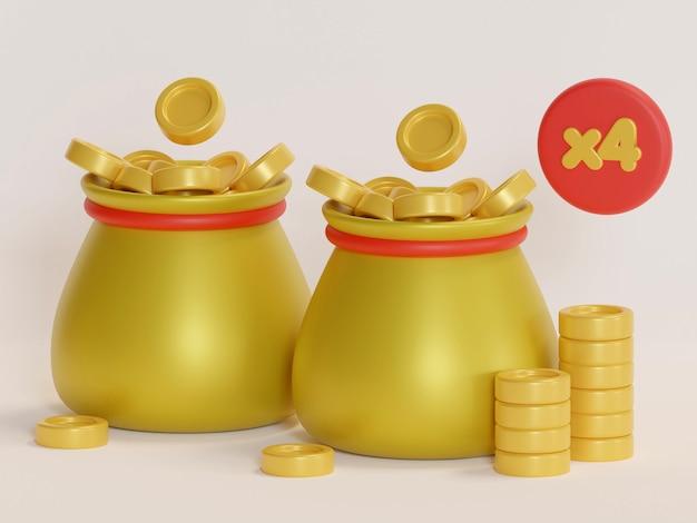 Sac de pièces d'or avec la couleur du signe dollar et le rendu 3d d'arrière-plan