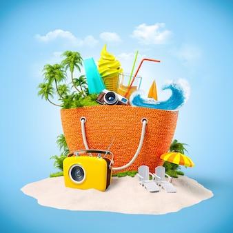 Sac de plage avec île tropicale à l'intérieur sur sable mur de voyage insolite