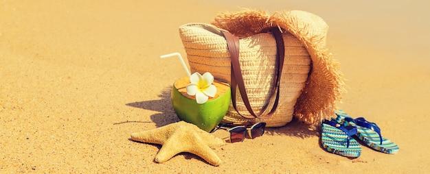 Sac de plage et noix de coco en mer
