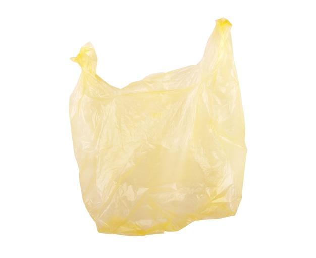 Sac en plastique jetable clair sur fond blanc