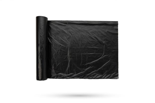 Sac en plastique poubelle de couleur noire sur fond blanc isolé