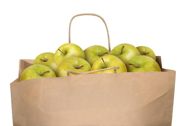 Sac de pommes vertes isolé sur fond blanc