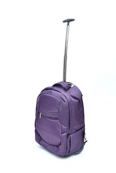 Sac pour ordinateur portable violet isolé sur blanc