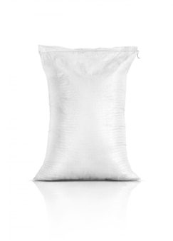 Sac de riz, produit de l'agriculture isolé sur fond blanc