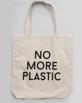Sac shopping réutilisable plus de plastique sur fond gris. shopper en coton sur fond gris, place pour le textevue de dessus