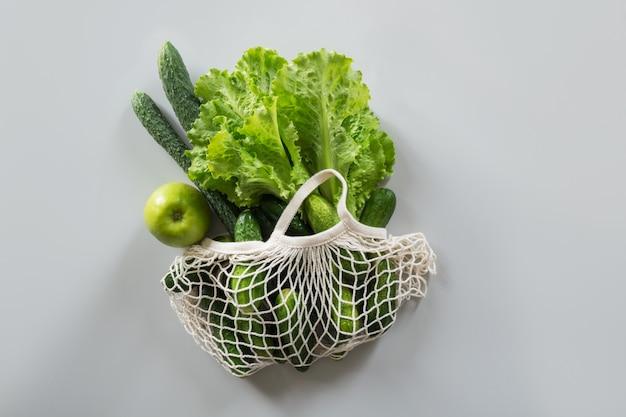 Sac de shopping en textile avec fruits et légumes