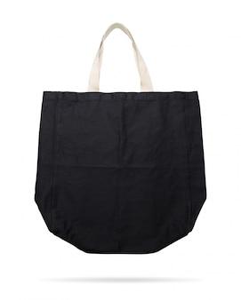 Sac en tissu noir sur fond isolé avec un tracé de détourage.