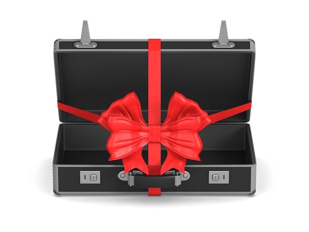 Sac de voyage noir ouvert avec noeud rouge sur blanc. illustration 3d isolée