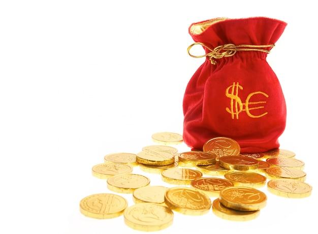Sacs d'argent avec des pièces
