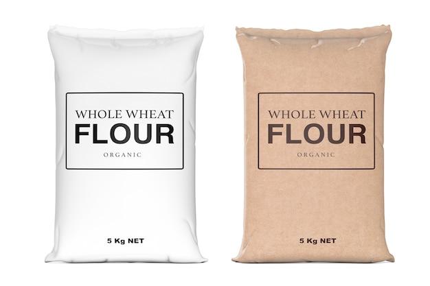 Sacs en papier de farine biologique de blé entier sur un fond blanc. rendu 3d