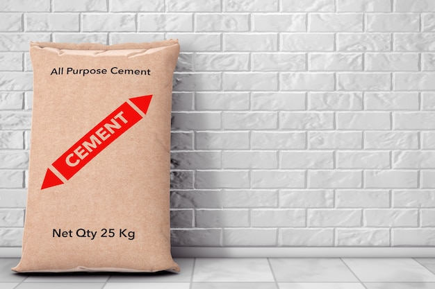Sacs en papier sacs en ciment devant le mur de briques. rendu 3d