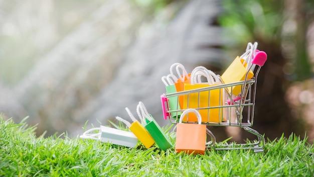 Sacs à provisions dans un panier avec de l'herbe naturelle.