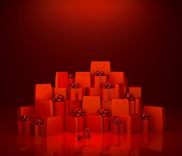 Sacs à provisions rouges et coffret cadeau sur fond rouge