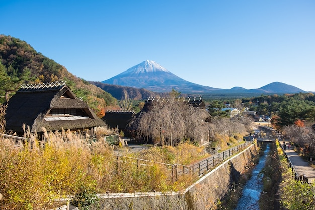 Saiko iyashino-sato nenba (village de guérison) avec le mont. fond de fuji dans le lac saiko, japon.