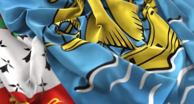 Saint pierre et miquelon drapeau ruffled magnifiquement waving macro gros plan