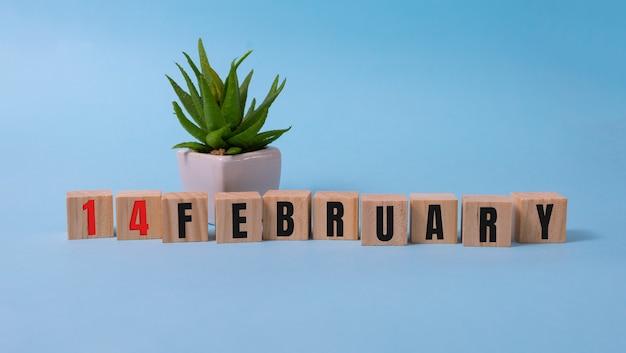 Saint valentin 14 février sur des blocs de bois sur fond bleu.