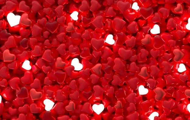 Saint valentin bonbons coeurs motif de fond illustration de rendu 3d