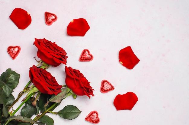 Saint valentin, carte de saint valentin avec roses