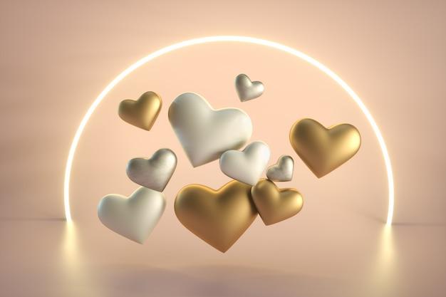 Saint valentin coeurs blancs et dorés
