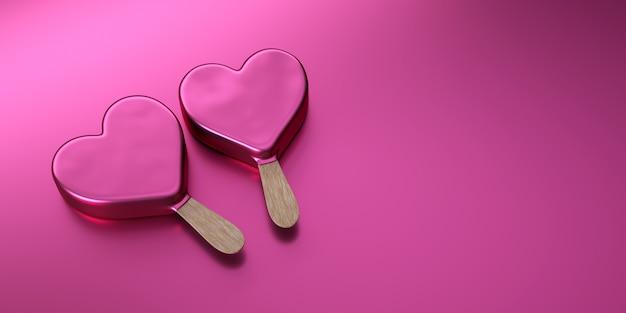 Saint valentin, deux glaces roses en forme de coeur