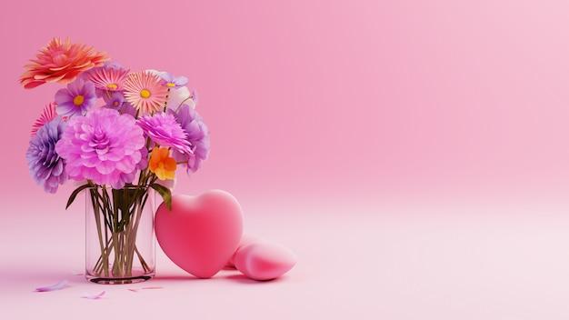 Saint valentin sur fond rose avec des coeurs rouges et des fleurs multicolores
