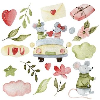 Saint-valentin, superbe design pour les cartes. vente de vacances. collection de coeur d'amour. coeur rouge, saint valentin, carte de voeux de souris.