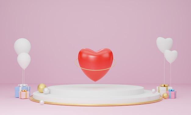 Saint valentin, symbole de coeurs rouges sur podium ou stand de produit
