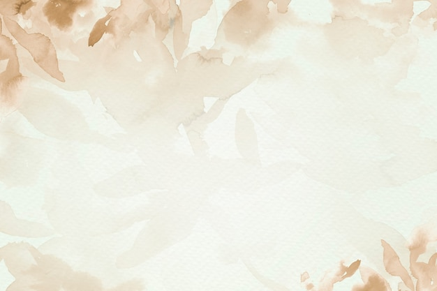 Saison d'automne esthétique de fond de feuille aquarelle marron