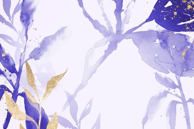 Saison d'hiver esthétique de fond de feuille aquarelle violette