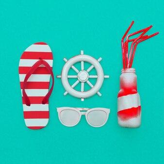 Saison de plage style marin tongs et cocktail de plage art minimal