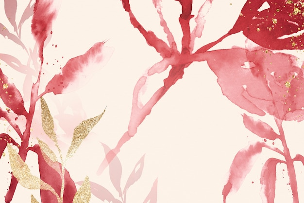 Saison de printemps esthétique de fond de feuille aquarelle rose