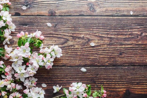 Sakura en fleurs sur du bois rustique foncé