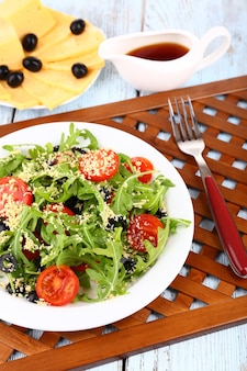 Salade fraîche à la roquette, gros plan
