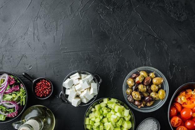 Salade grecque aux tomates, poivrons, olives et fromage feta