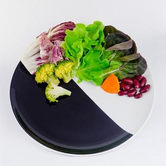 Salade de légumes sur une assiette avec du spcae vierge pour la formulation