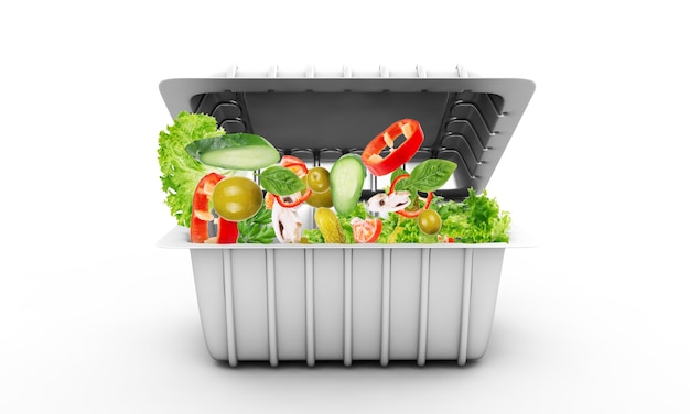 Salade de légumes frais dans un bol à emporter en plastique isolated on white