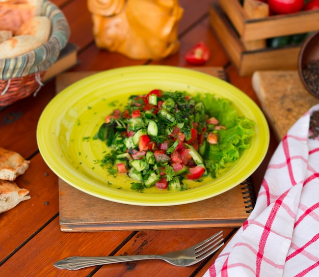 Salade de légumes verts, choban salati dans la plaque verte.