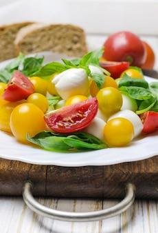 Salade de mozzarella fraîche, tomates et basilic.