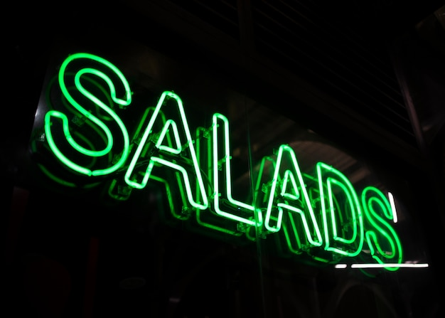 Salades, fast-food, signe, néons